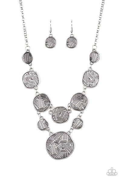 Metallic Patchwork Silver Necklace