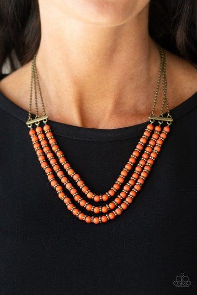 Terra Trails Orange Brass Necklace