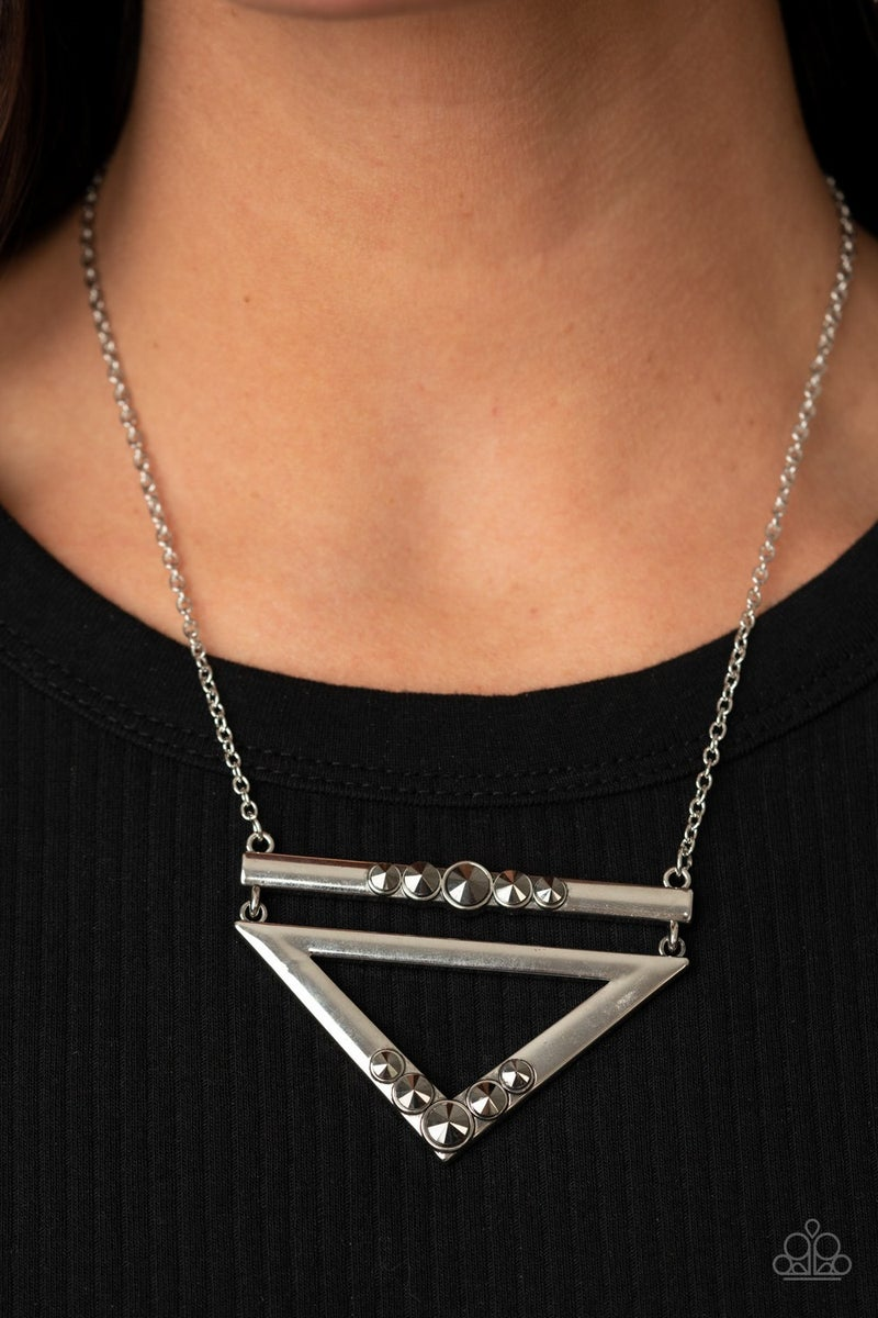 Triangulated Twinkle Silver Necklace
