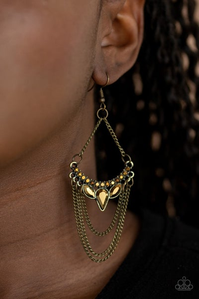 Burst Into Tiers Brass Earrings