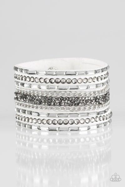 Rhinestone Rumble White Bracelet