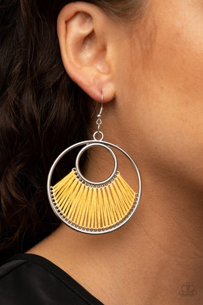 Really High-Strung Yellow Earrings