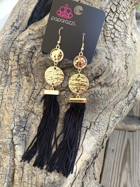 Lotus Gardens Black Gold Earrings