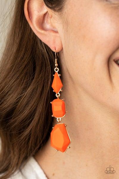 Geo Getaway Orange Gold Earrings
