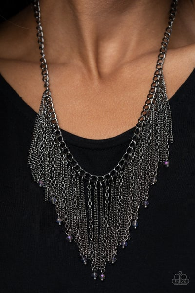 Cue The Fireworks Multi Gunmetal Necklace