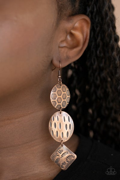 Mixed Movement Copper Earrings