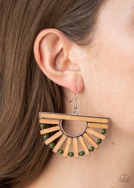 Wooden Wonderland Green Earrings