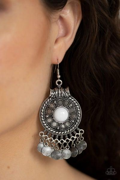 Rural Rhythm White Earrings