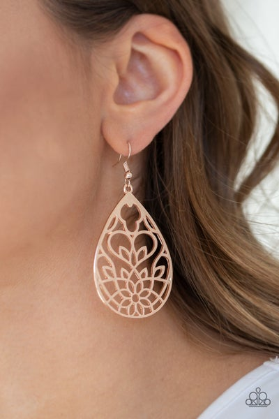 Lovely Lotus Rose Gold Earrings