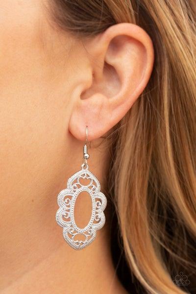 Mantras and Mandalas White Earrings