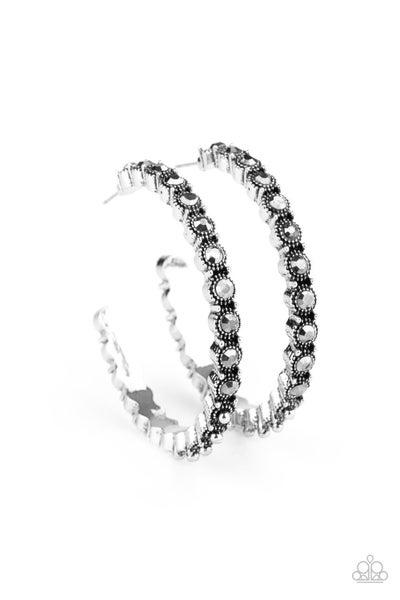 Rhinestone Studded Sass Silver Hoops
