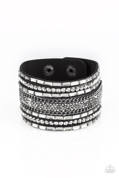 Rhinestone Rumble Black Bracelet