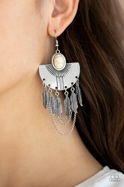Sure Thing Chief White Earrings