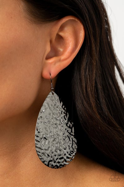 Metallic Mirrors Gunmetal Earrings