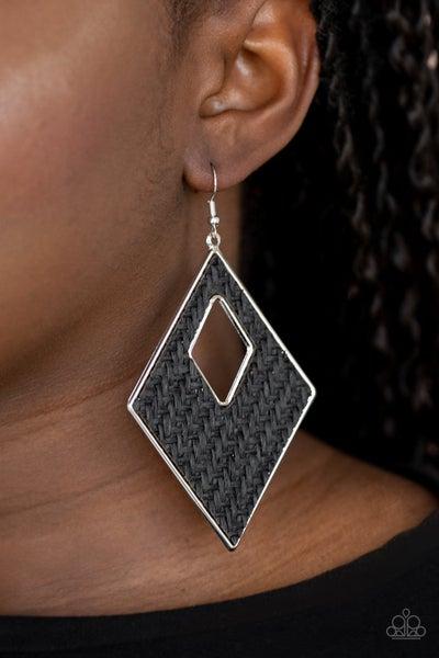 Woven Wanderer Black Earrings