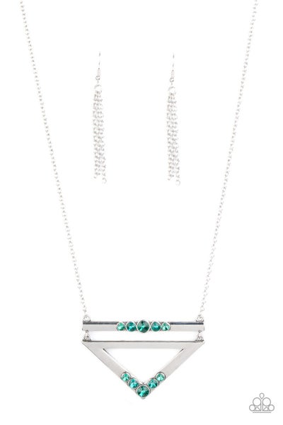 Triangulated Twinkle Green Necklace