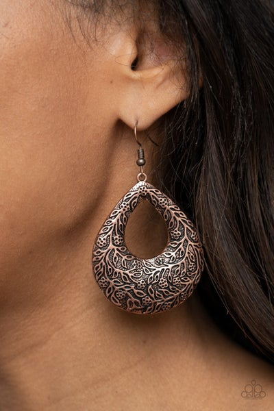 Flirtatiously Flourishing Copper Earrings