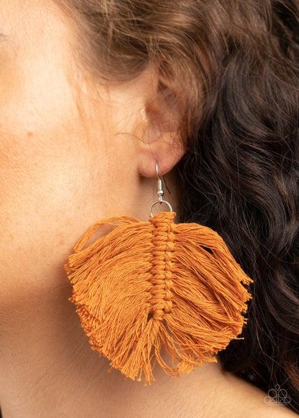 Macrame Mamba Brown Earrings