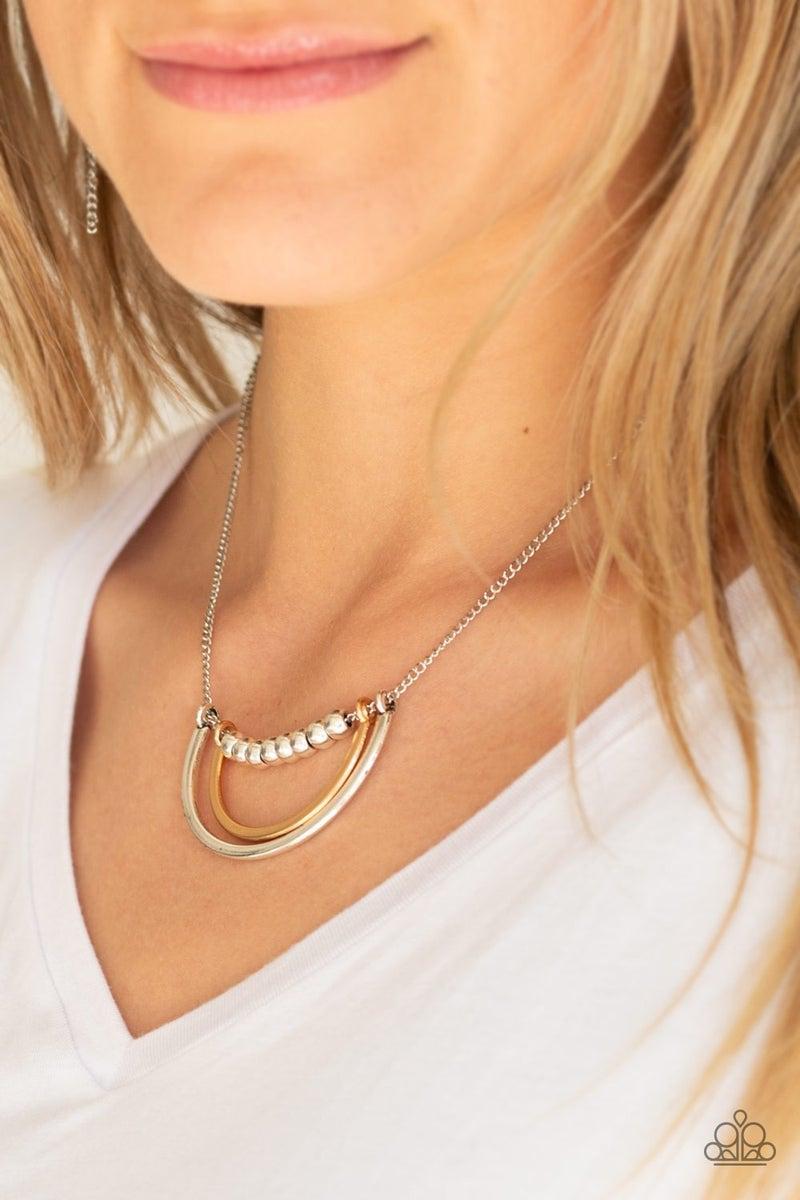 Artificial Arches Silver Necklace