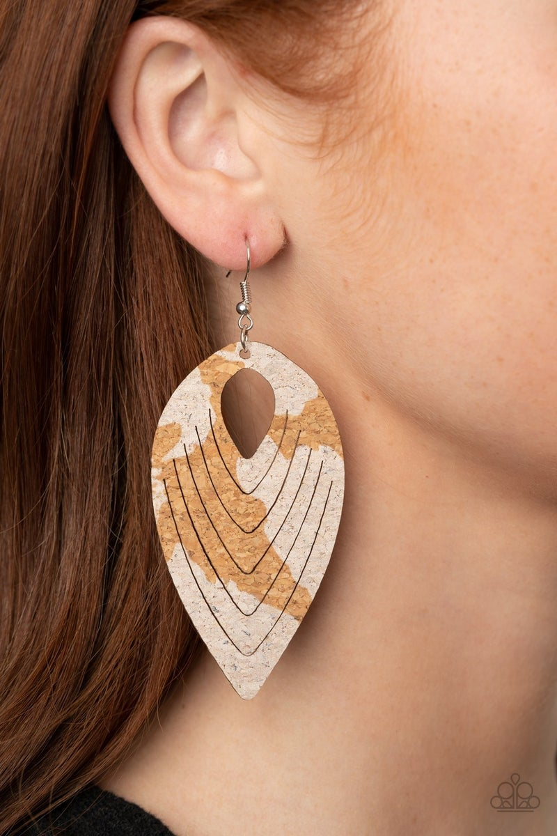 Cork Cabana White Earrings