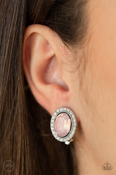 Have A Glow At It Pink Clip-On Earrings