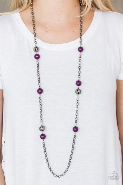 Fashion Fad Purple Gunmetal Necklace
