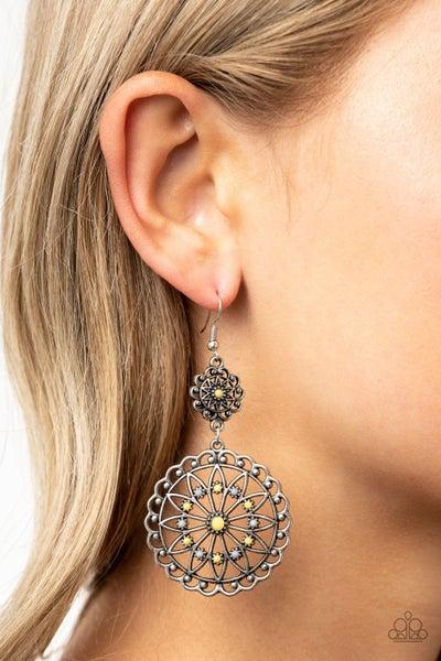 Beaded Brilliance Yellow Earrings