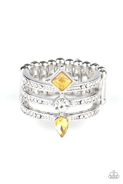 Triple Throne Twinkle Yellow Ring