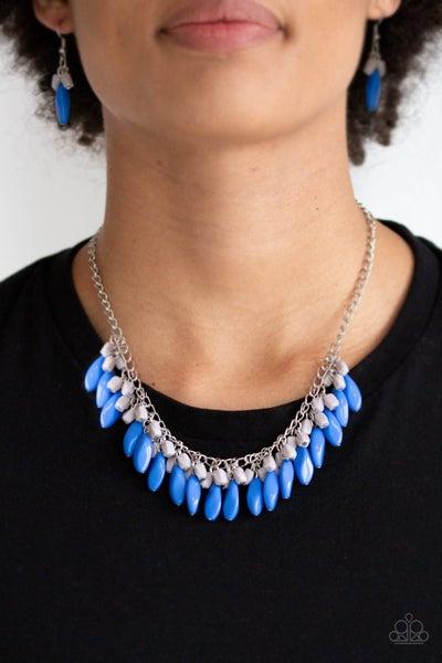 Bead Binge Blue Silver Necklace