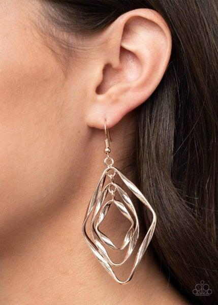 Retro Resplendence Rose Gold Earrings
