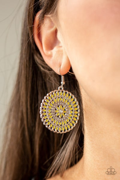 Pinwheel And Deal Yellow Earrings