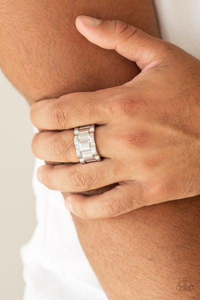 Modern Machinery Silver Mens Ring