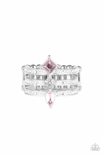 Triple Throne Twinkle Pink Ring