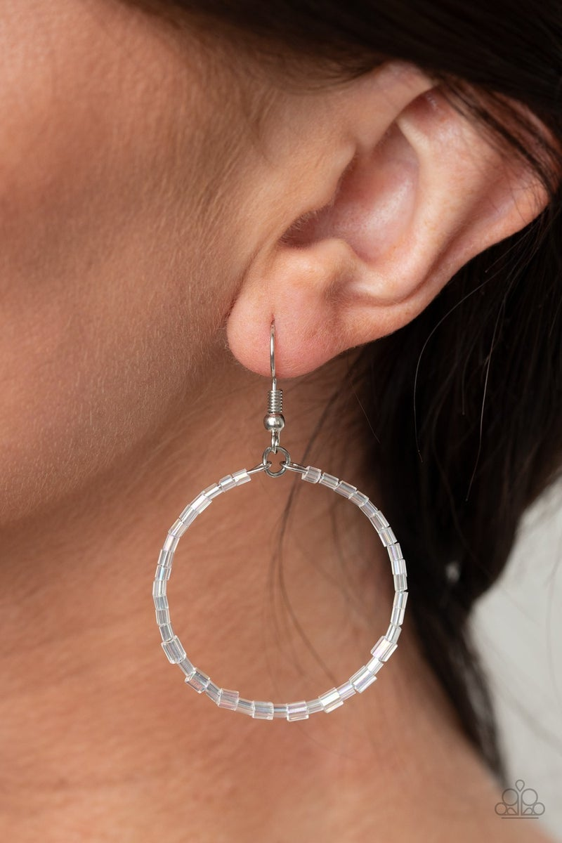 Colorfully Curvy White Earrings