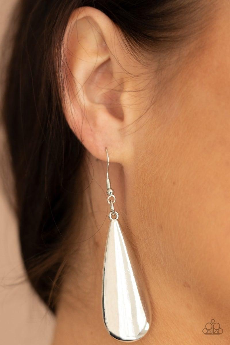 The Drop Off Silver Earrings