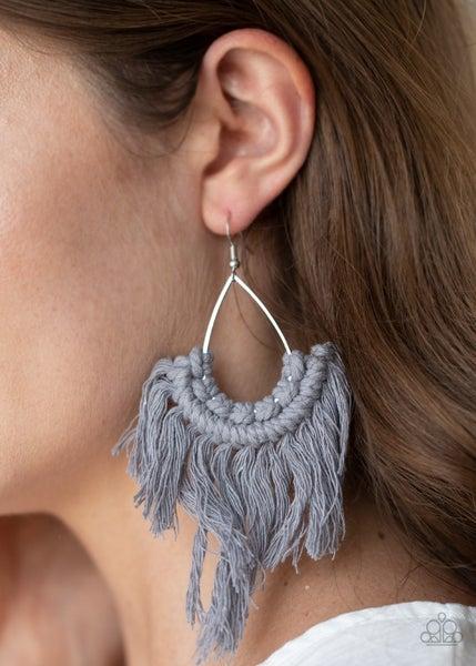 Wanna Piece of Macrame?  Silver Earrings