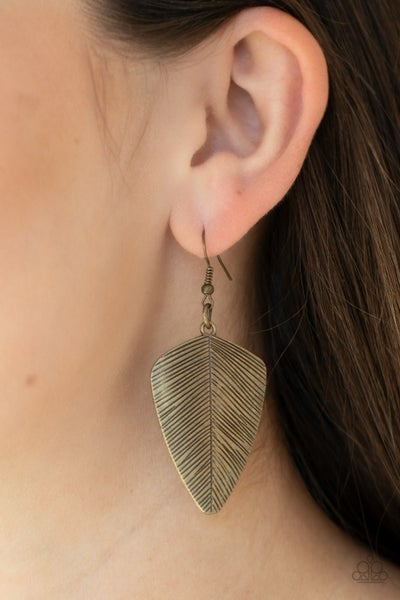 One Of The Flock Brass Earrings