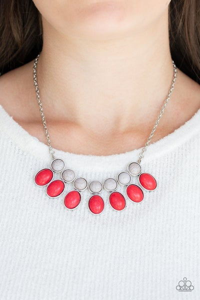 Environmental Impact Silver Red Necklace