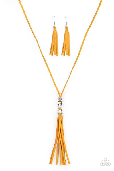 Hold My Tassel Yellow Necklace