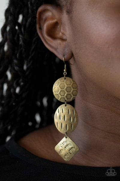 Mixed Movement Brass Earrings