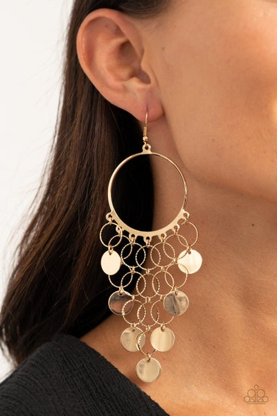 Take A Chime Out Gold Earrings