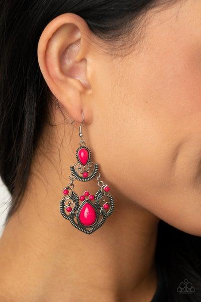 Palm Tree Tiaras Pink Earrings