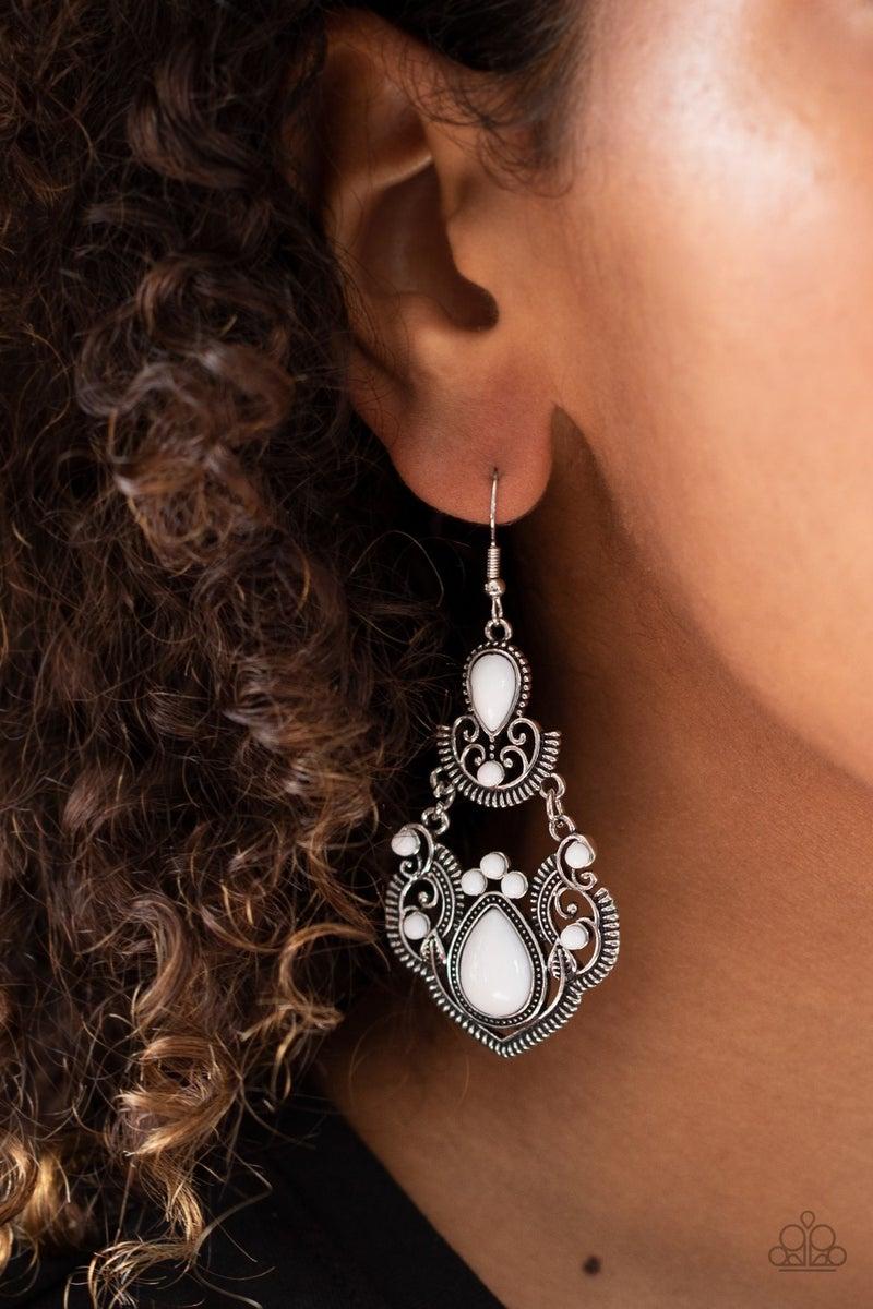 Palm Tree Tiaras White Earrings