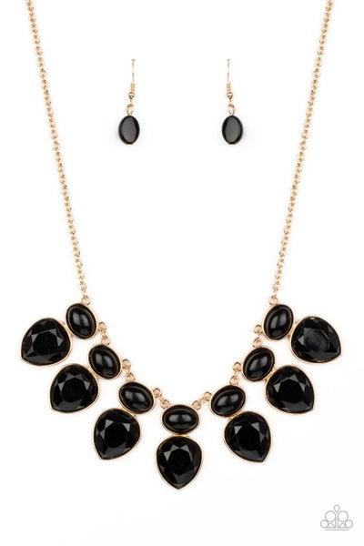 Modern Masquerade Black Gold Necklace
