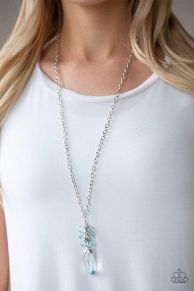 Crystal Cascade Blue Necklace