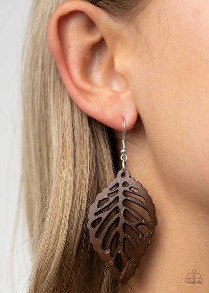 Leaf 'Em Hanging Brown Earrings