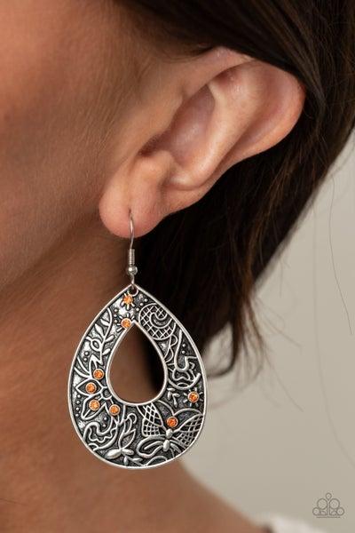 Botanical Butterfly Orange Earrings