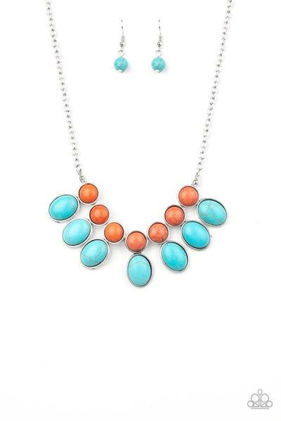 Environmental Impact Orange Turquoise Necklace