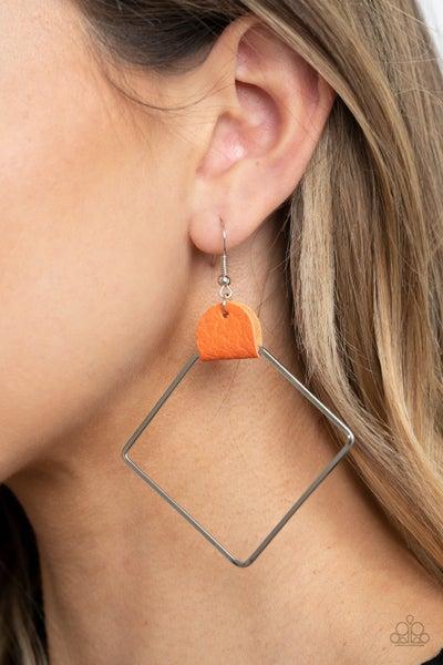 Friends Of A Leather Orange Earrings