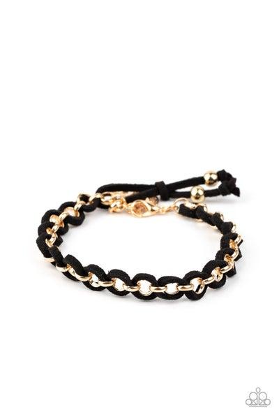 Suede Side To Side Gold Black Bracelet